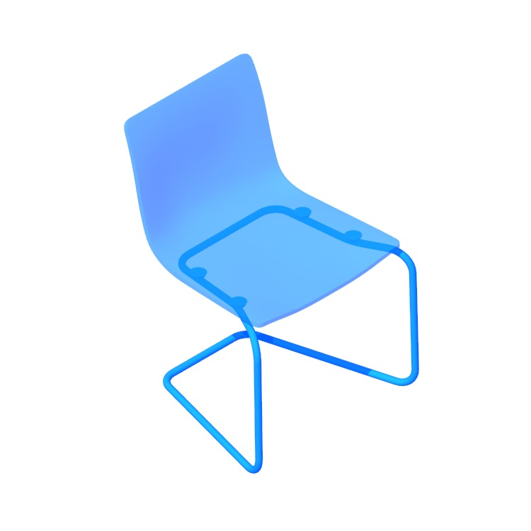 3D model of the IKEA Tobias Chair viewed in perspective
