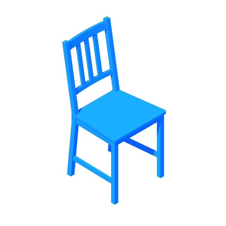 Perspective view of a 3D model of the IKEA Stefan Chair