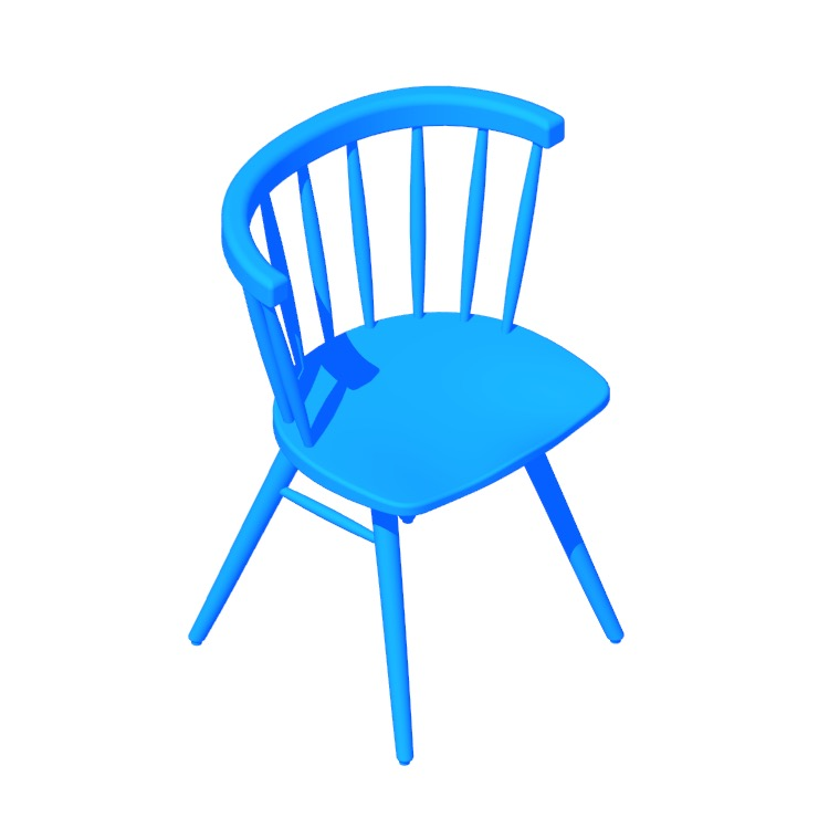 View of the Nakashima Straight-Back Chair in 3D available for download