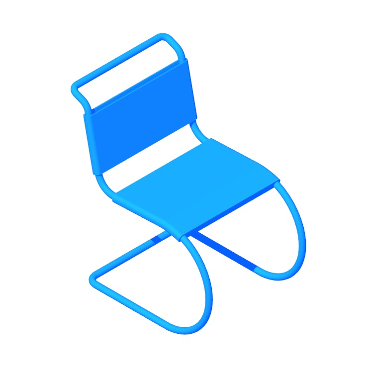 3D model of the MR Side Chair viewed in perspective