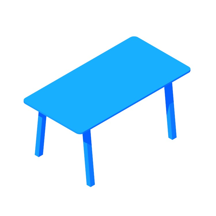 Perspective view of a 3D model of the IKEA Övraryd | Västanå Table