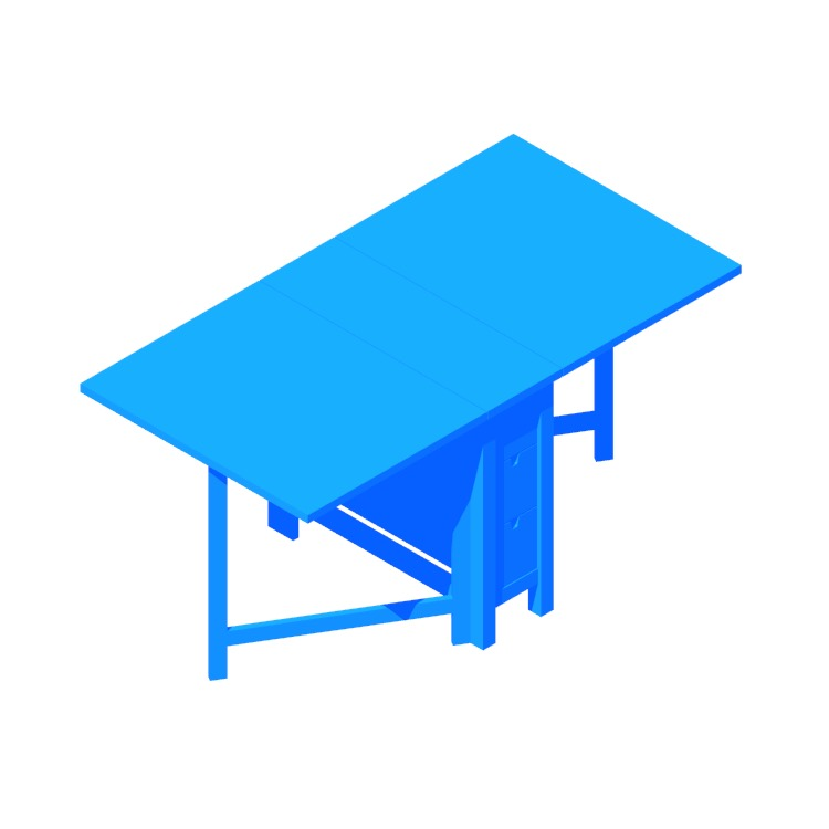 Perspective view of a 3D model of the IKEA Norden Gateleg Table