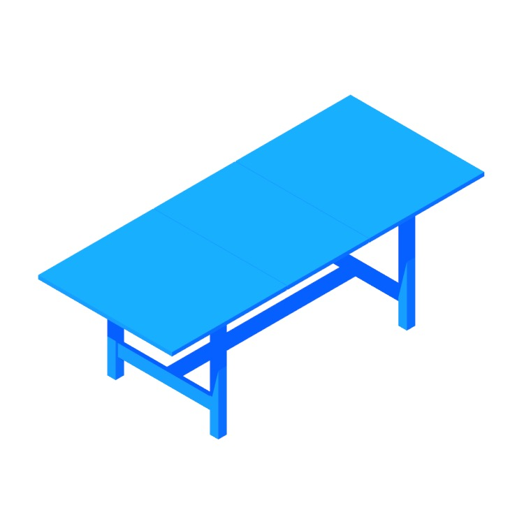 3D model of the IKEA Norden Extendable Table viewed in perspective