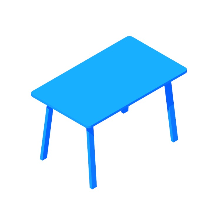 3D model of the IKEA Norråker Table viewed in perspective