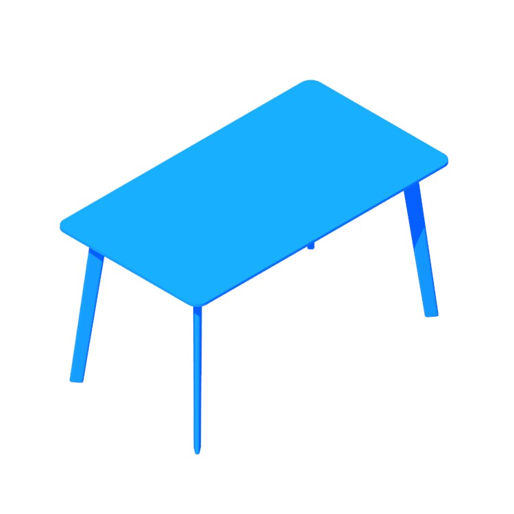 Perspective view of a 3D model of the IKEA Lisabo Table