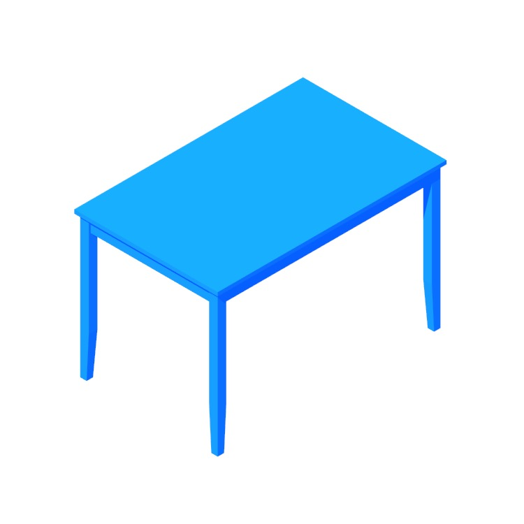 3D model of the IKEA Lerhamn Table (Rectangular) viewed in perspective
