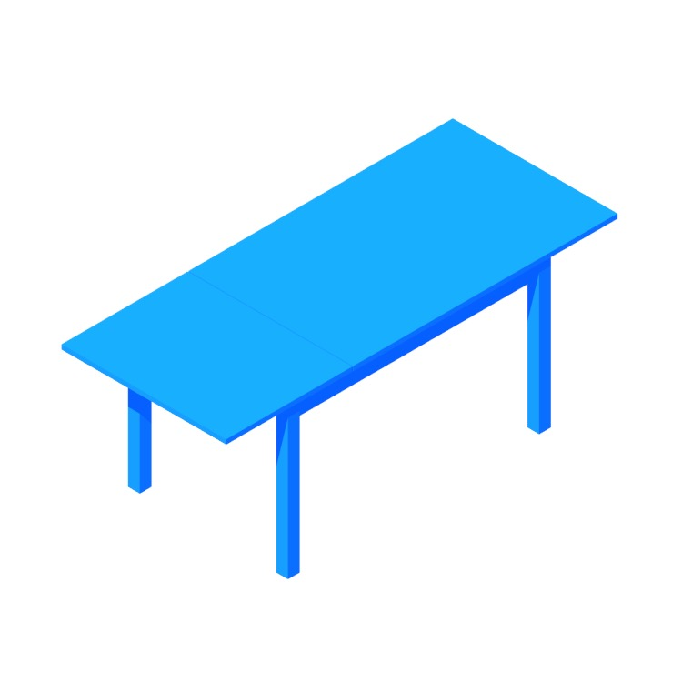 Perspective view of a 3D model of the IKEA Laneberg Extendable Table