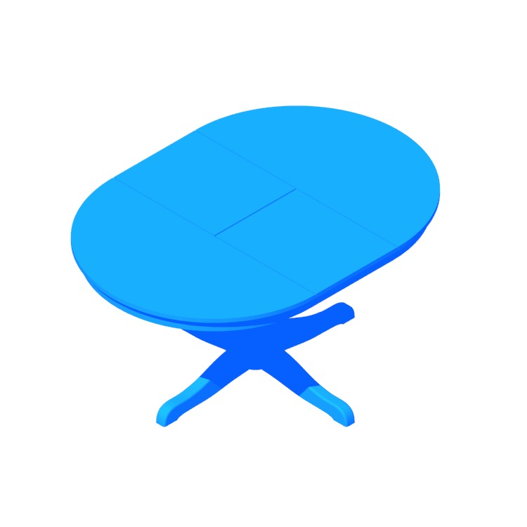 Perspective view of a 3D model of the IKEA Ingatorp Extendable Table (Round)