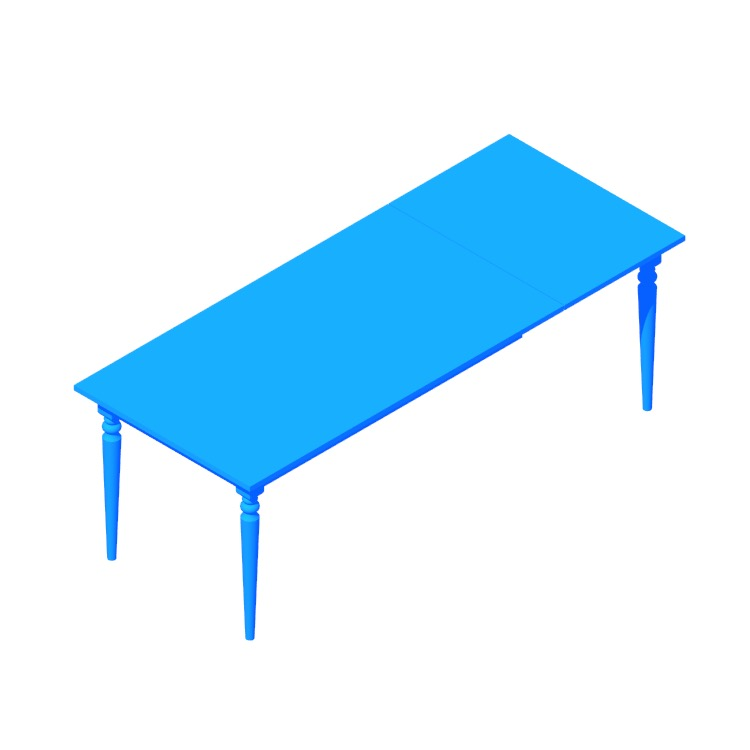 View of the IKEA Ingatorp Extendable Table (Rectangular) in 3D available for download