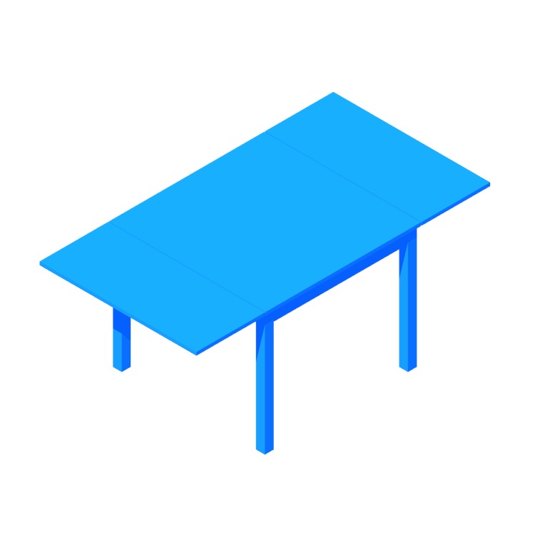 Perspective view of a 3D model of the IKEA Bjursta Extendable Table