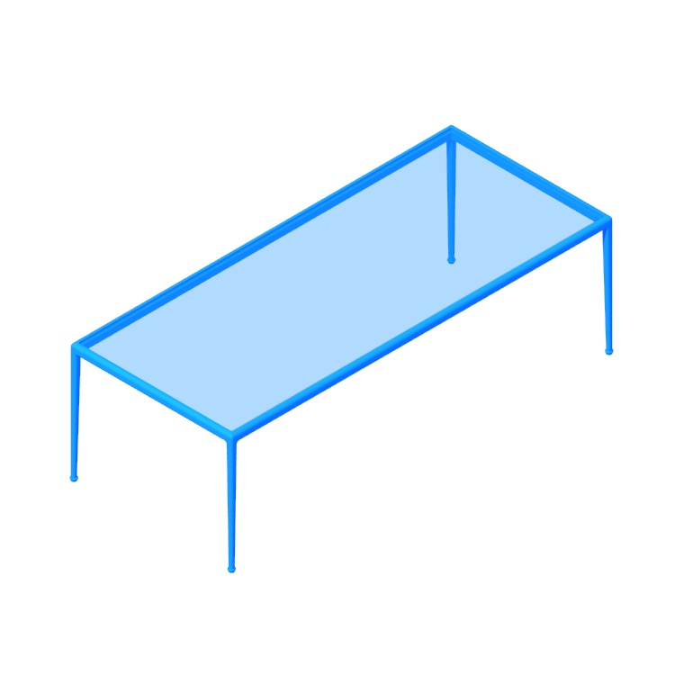 Perspective view of a 3D model of the 1966 Dining Table (Rectangular - Large)