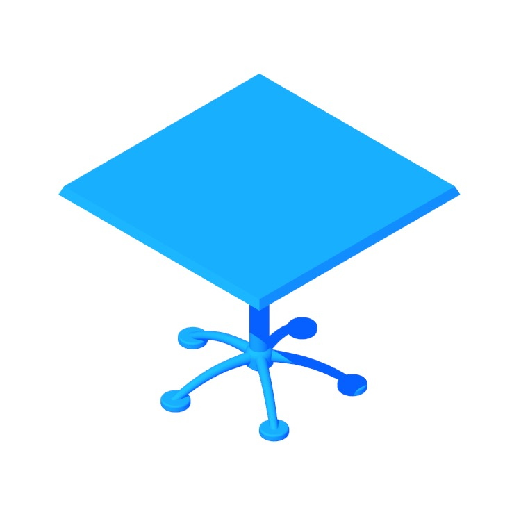 Perspective view of a 3D model of the Pensi Table (Square)