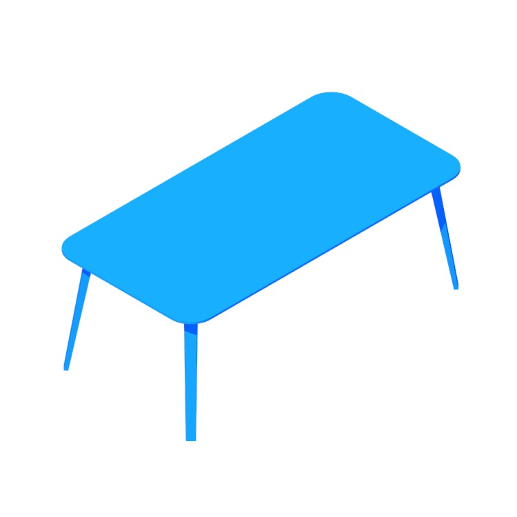 Perspective view of a 3D model of the GUBI Organic Table (Rectangular)