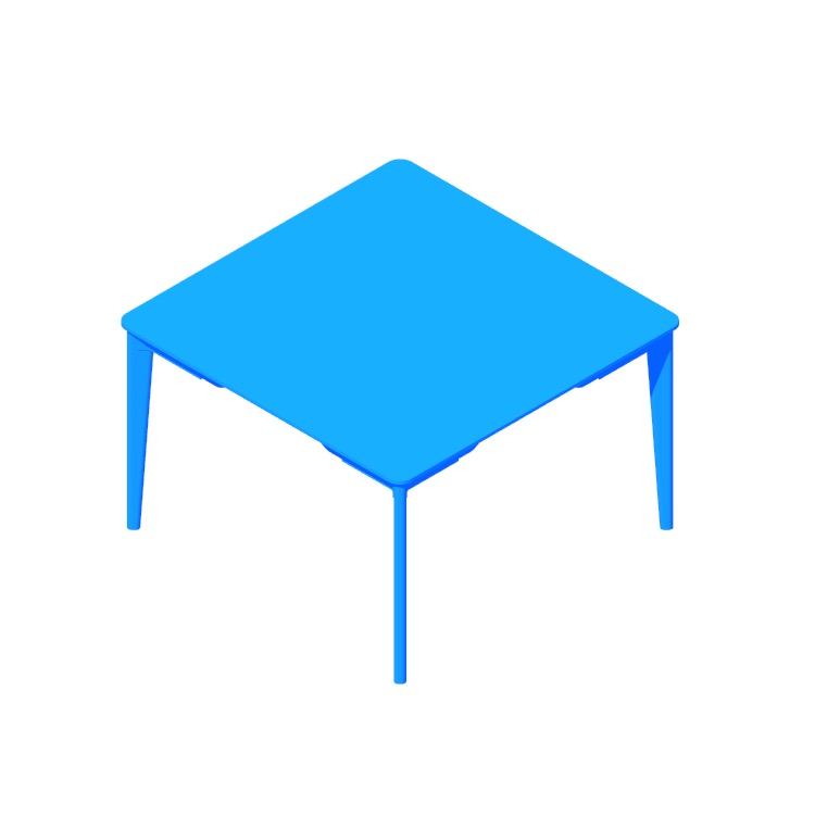 View of the Lancaster Dining Table (Square) in 3D available for download