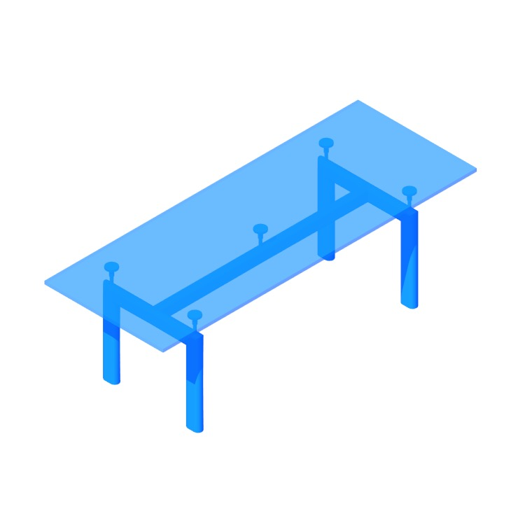 Perspective view of a 3D model of the LC6 Table