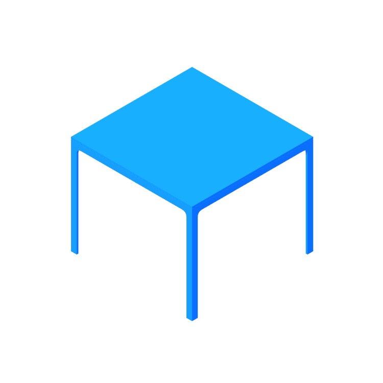3D model of the Min Table (Square) viewed in perspective