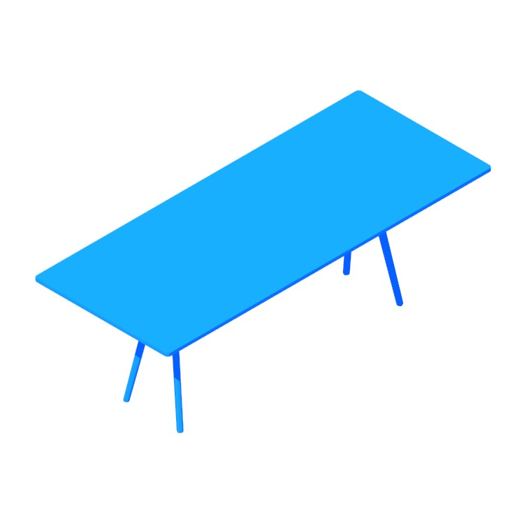 3D model of the Baguette Table (Large) viewed in perspective
