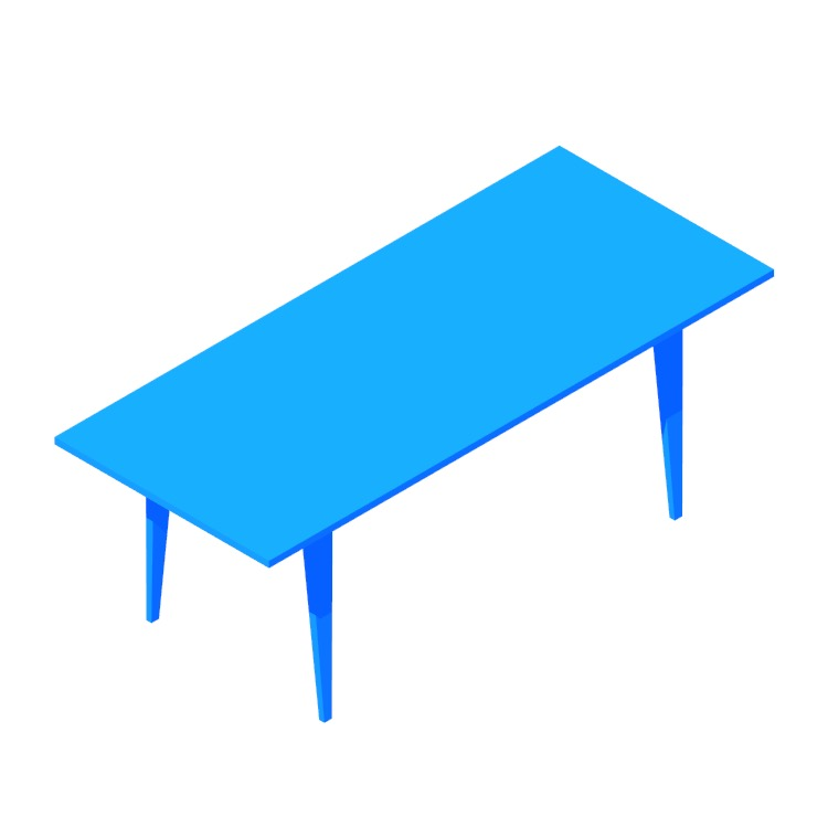 3D model of the Cherner Table (Rectangular) viewed in perspective
