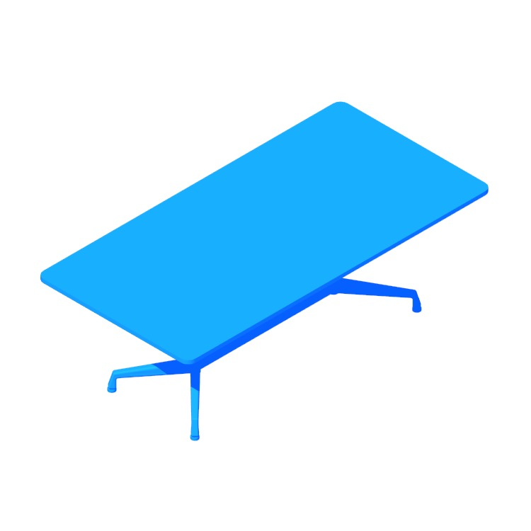 3D model of the Eames Segmented Table (Rectangular) viewed in perspective