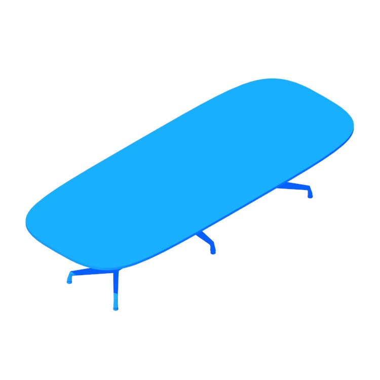 Perspective view of a 3D model of the Eames Segmented Table (Oval)