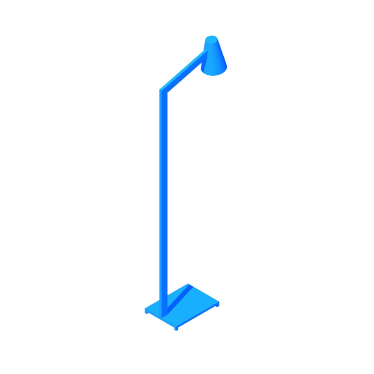 Perspective view of a 3D model of the Axis Floor Lamp