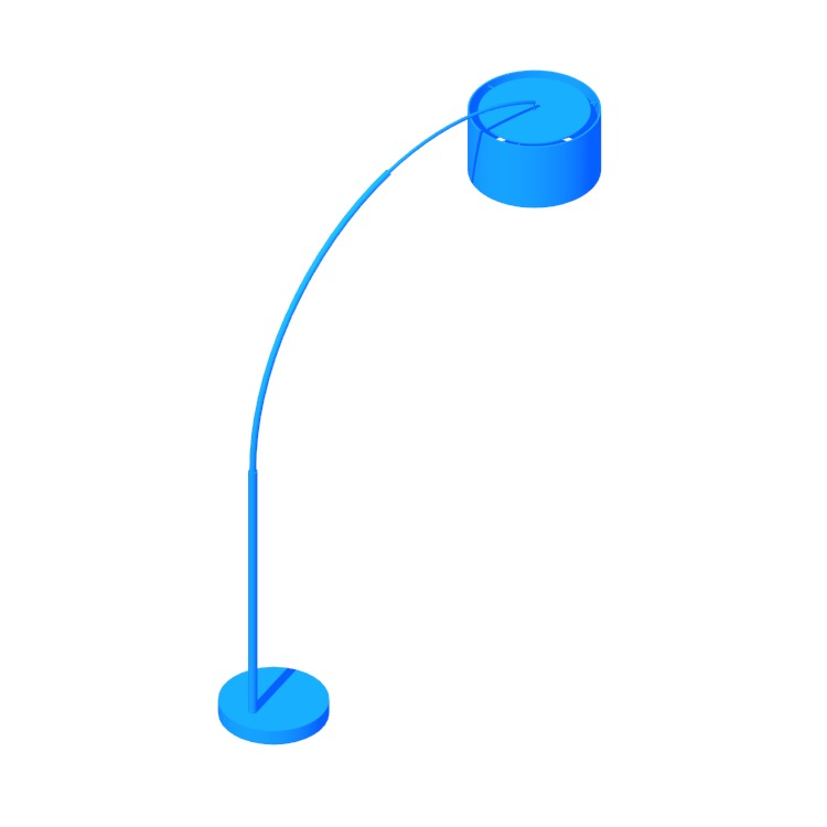 Perspective view of a 3D model of the Big Dipper Arc Floor Lamp