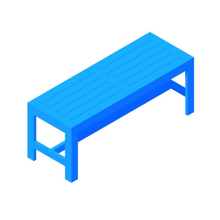 3D model of the IKEA Äpplarö Bench viewed in perspective