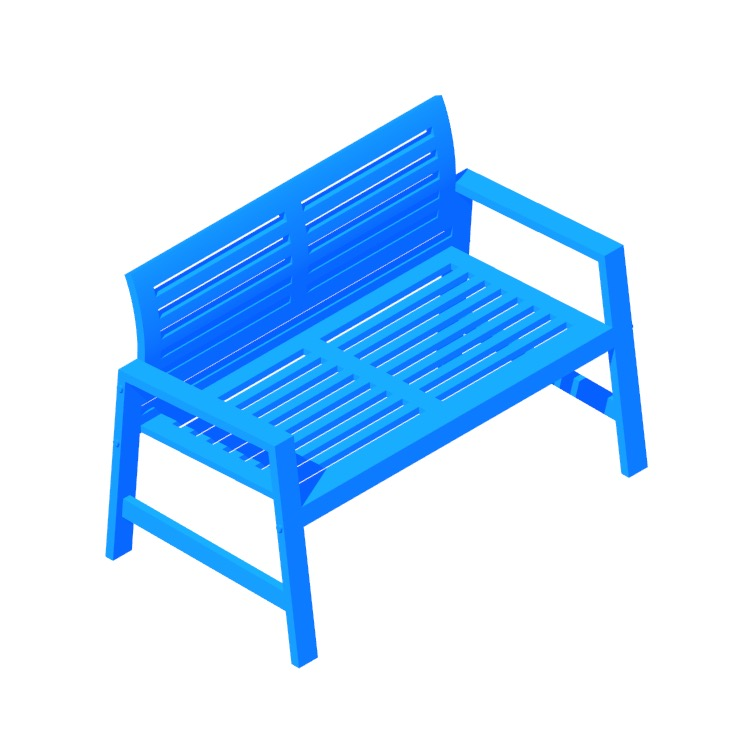 Perspective view of a 3D model of the IKEA Äpplarö Bench (Backrest)