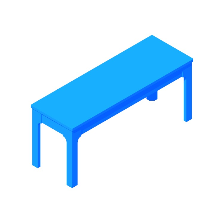 3D model of the IKEA Ekedalen Bench viewed in perspective