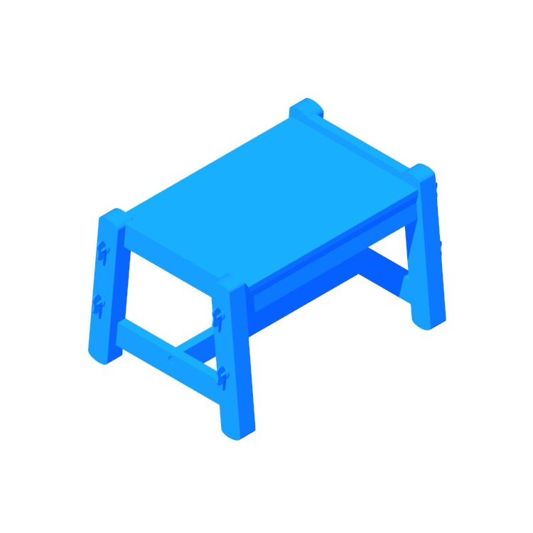 Perspective view of a 3D model of the IKEA Flisat Child's Bench