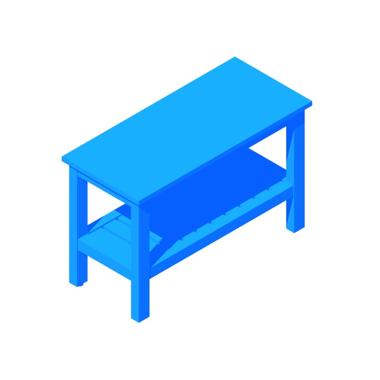 View of the IKEA Hemnes Bench in 3D available for download