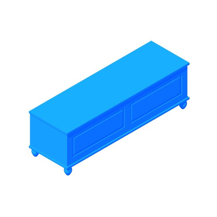 3D model of the IKEA Hornsund Bench viewed in perspective