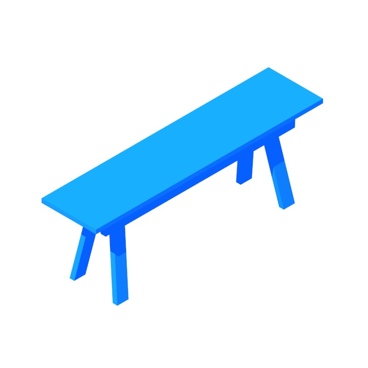 Perspective view of a 3D model of the IKEA Industriell Bench