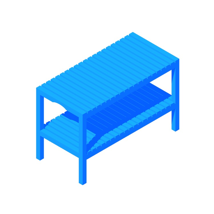 Perspective view of a 3D model of the IKEA Molger Bench