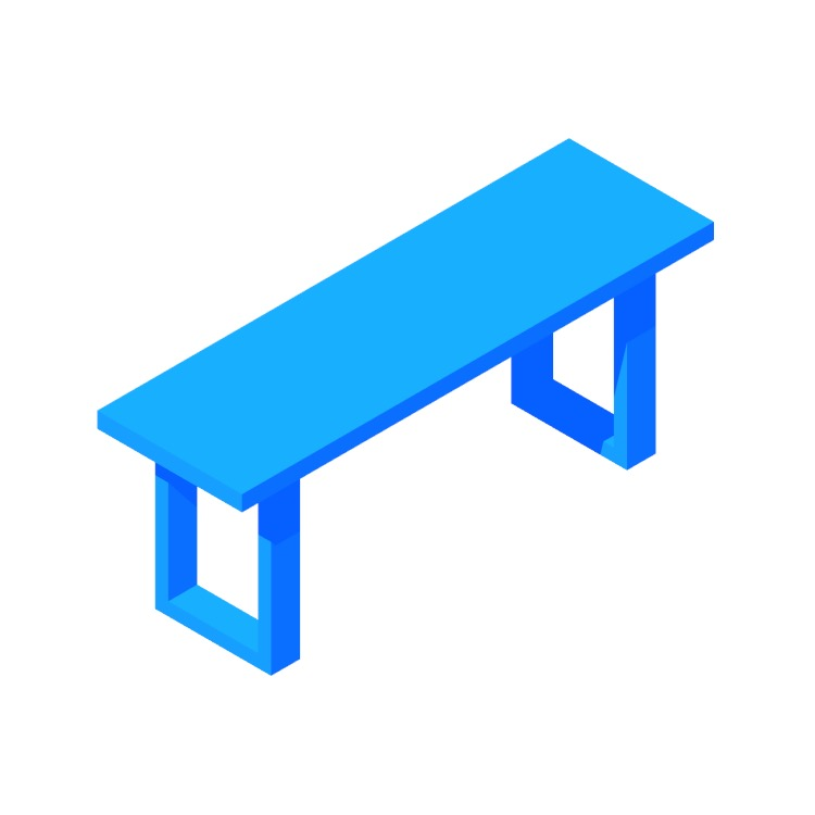 View of the IKEA Mörbylånga Bench in 3D available for download