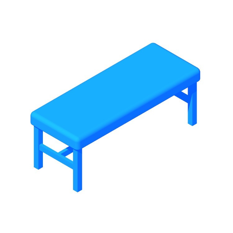 View of the IKEA Oppaker Bench in 3D available for download