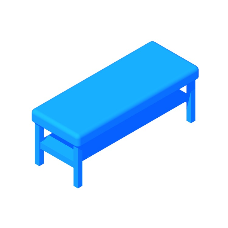 Perspective view of a 3D model of the IKEA Seljord Bench