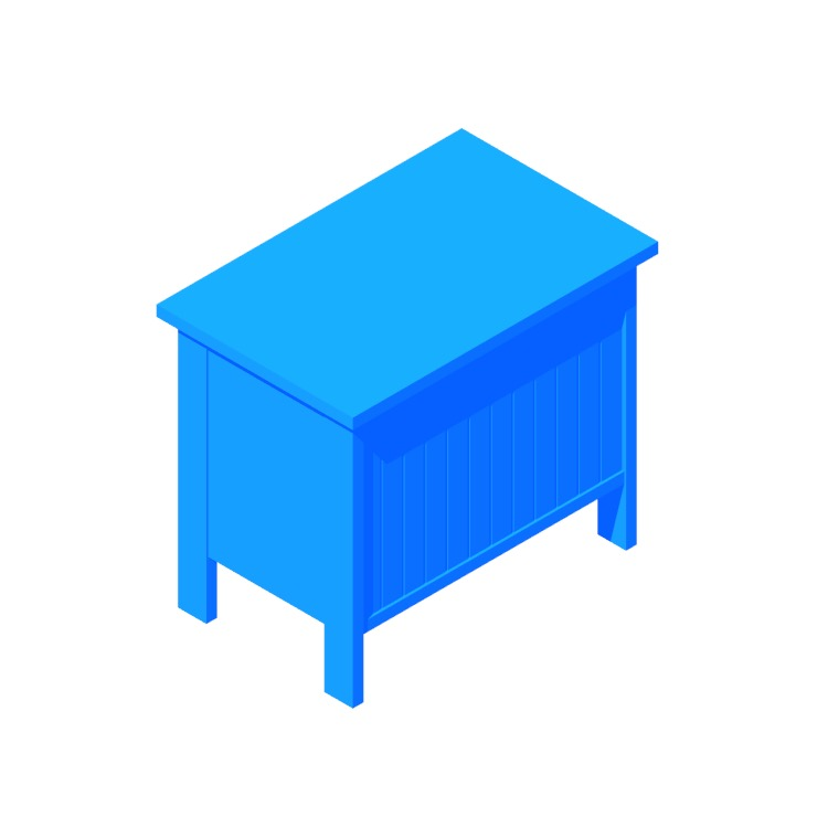 View of the IKEA Silverån Storage Bench in 3D available for download