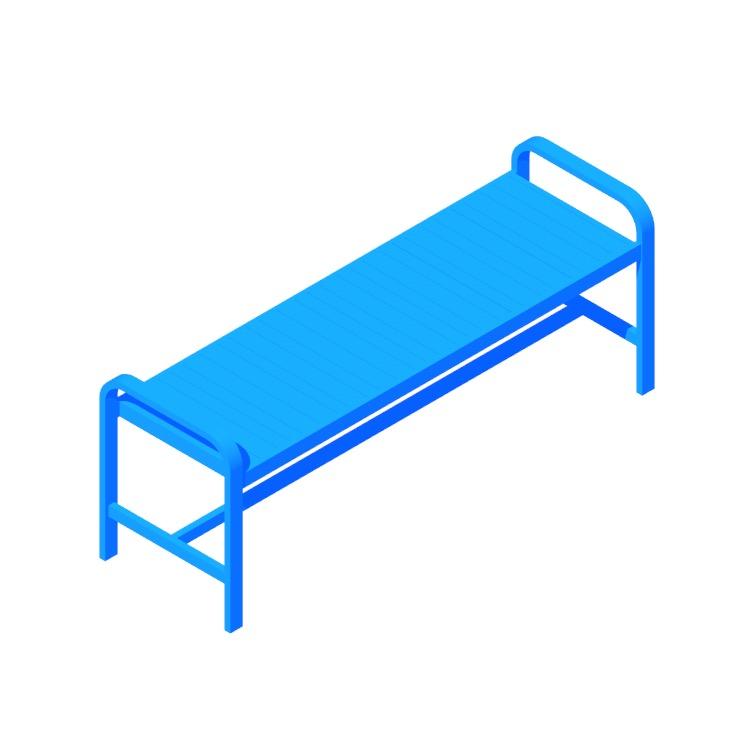 3D model of the IKEA Själland Bench viewed in perspective