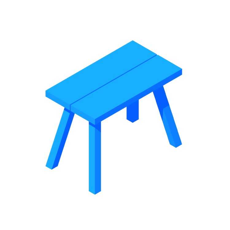 View of the IKEA Skogsta Bench (Small) in 3D available for download