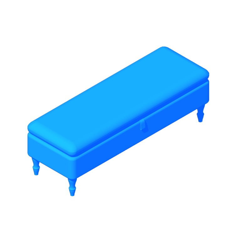 3D model of the IKEA Stocksund Bench viewed in perspective