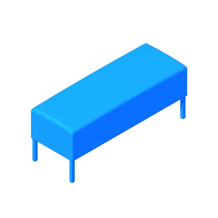 3D model of the Riva Bench (Rectangular) viewed in perspective