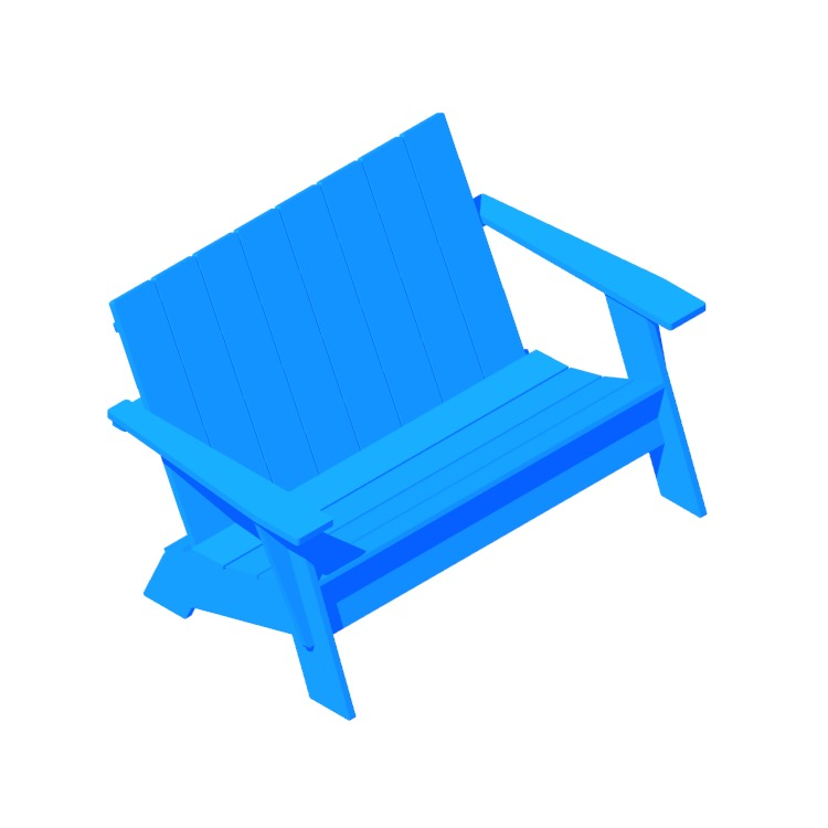 3D model of the Adirondack Bench viewed in perspective