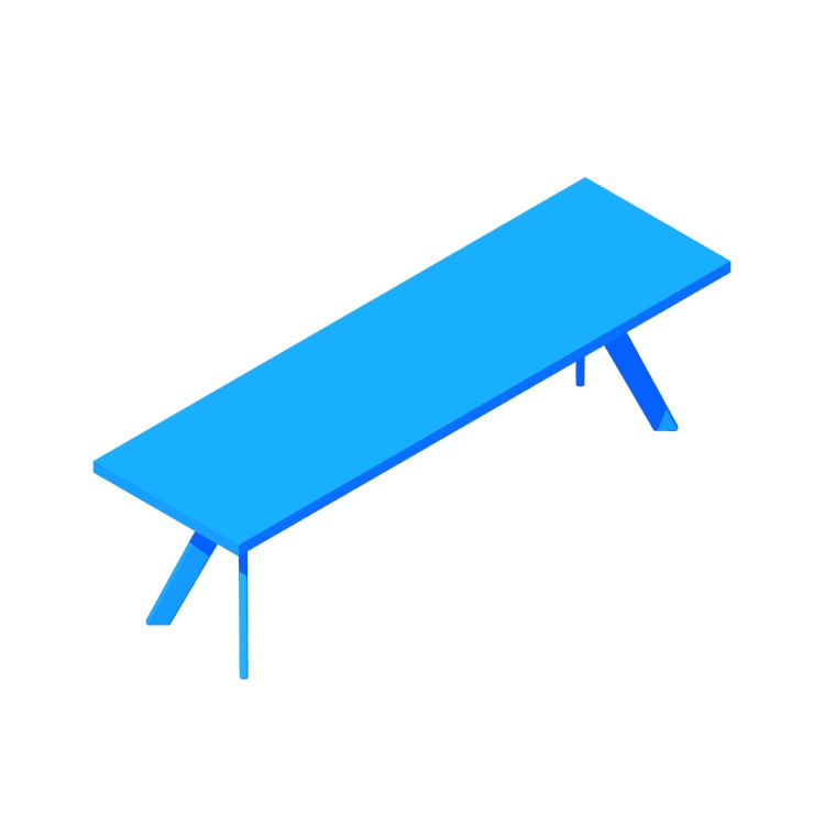 3D model of the Audrey Dining Bench viewed in perspective