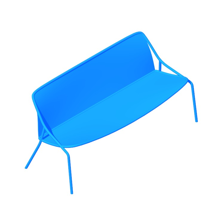 3D model of the Croisette Bench (3-Seat) viewed in perspective