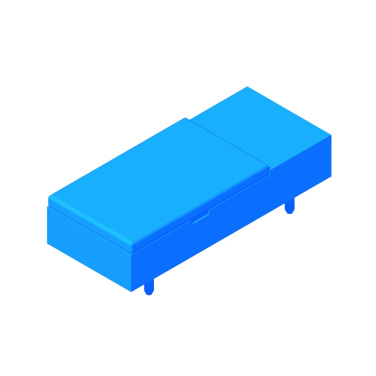 3D model of the Mimico Storage Ottoman viewed in perspective