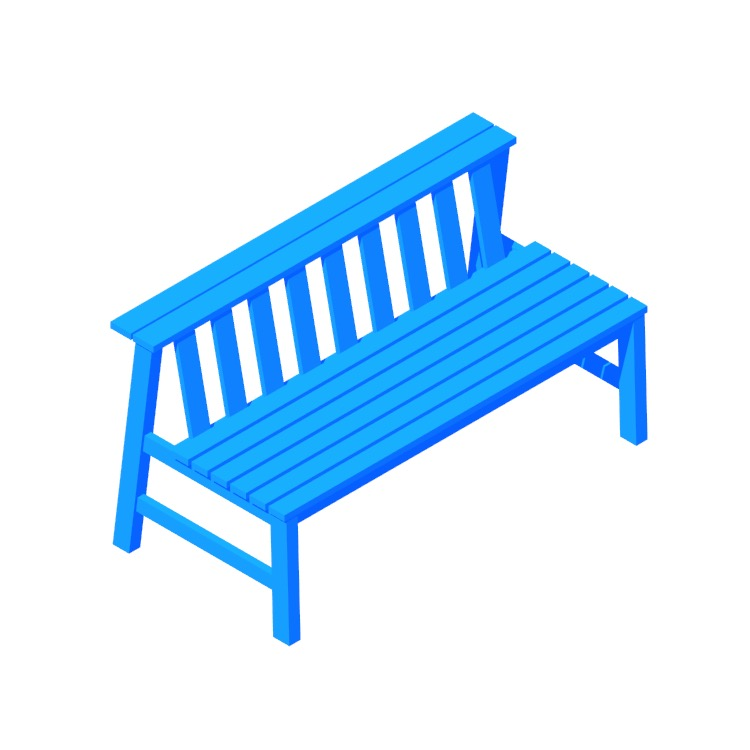 3D model of the Plank Bench viewed in perspective