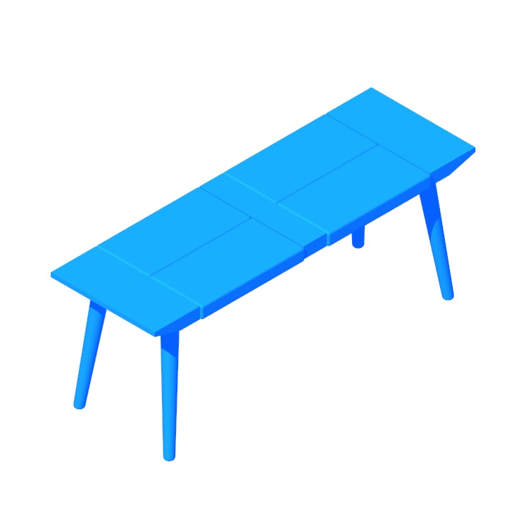 Perspective view of a 3D model of the Bora Bora Bench (Long)