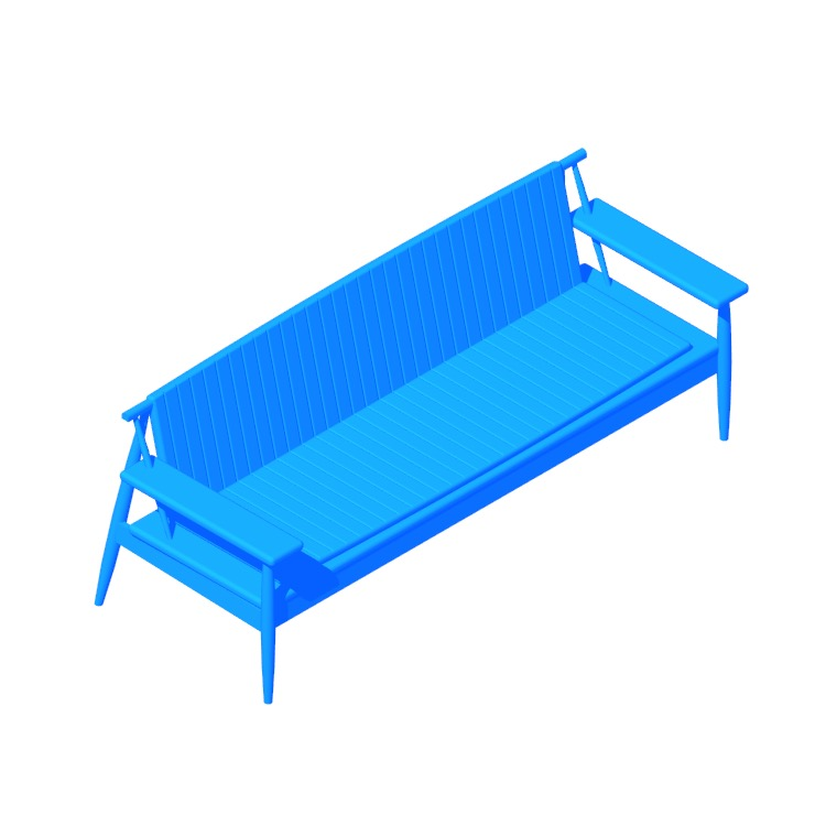 3D model of the Onsen Bench viewed in perspective