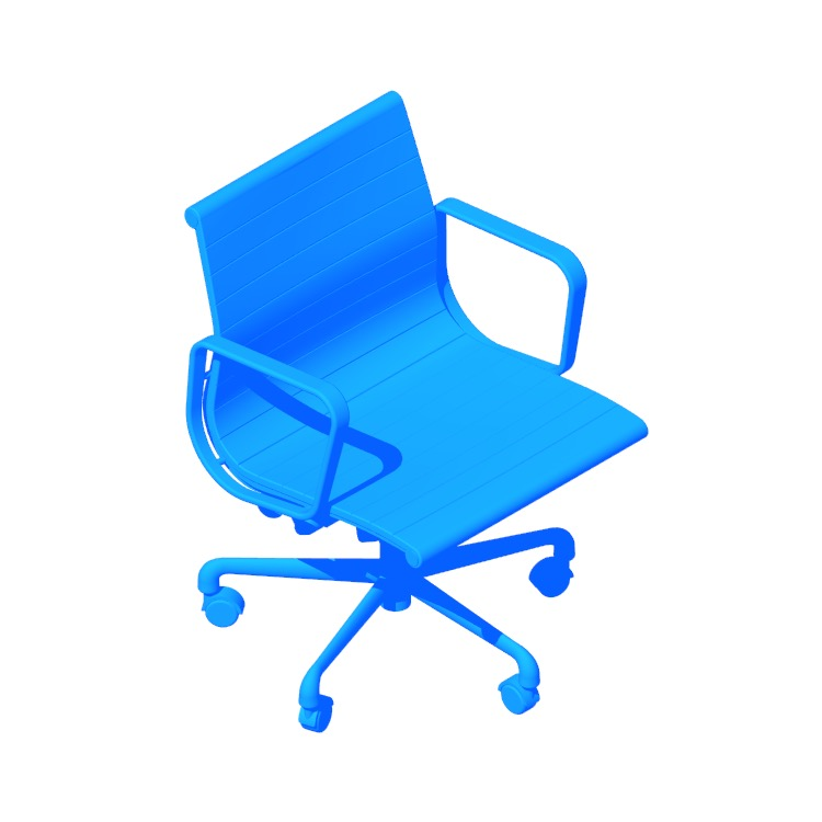 Perspective view of a 3D model of the Eames Aluminum Group Management Chair